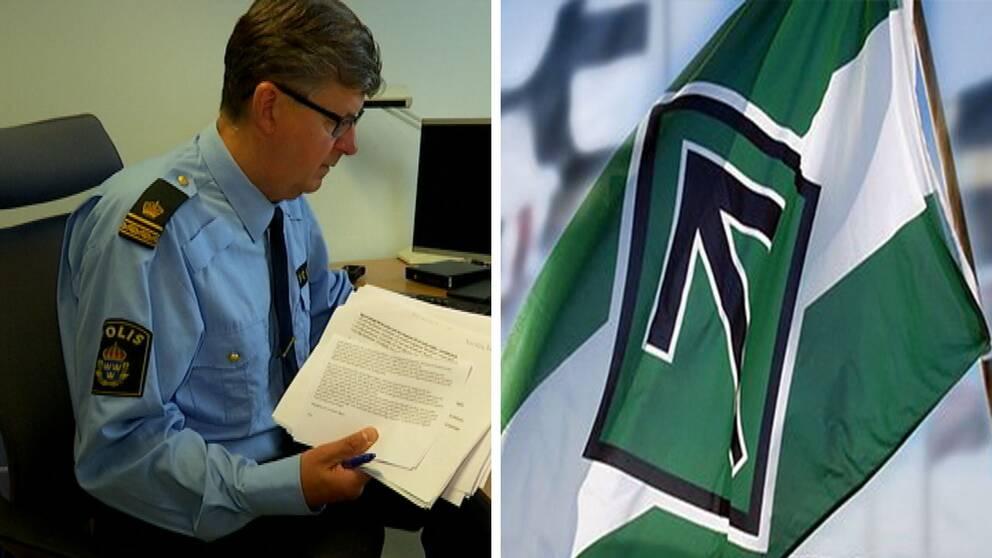 Thomas Pärklo polis och nordiska motståndsrörelsens flagga.
