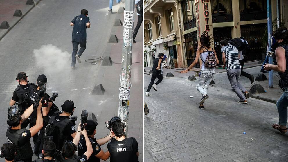 Turkisk kravallpolis sköt med gummikulor och tårgas mot hbtq-aktivister under Trans Pride i Istanbul.