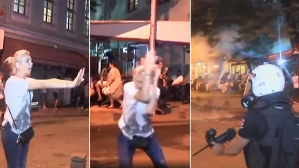 """Vädjar """"Snälla, jag ber er"""" – sen avfyrar polisen tårgasen"""