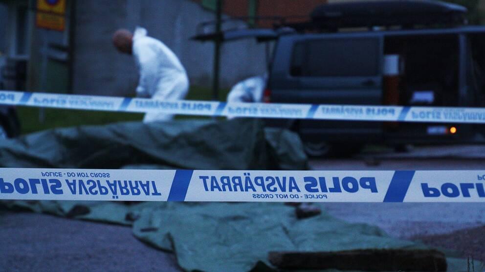 Polisens tekniker utreder grovt brott i Gällivare