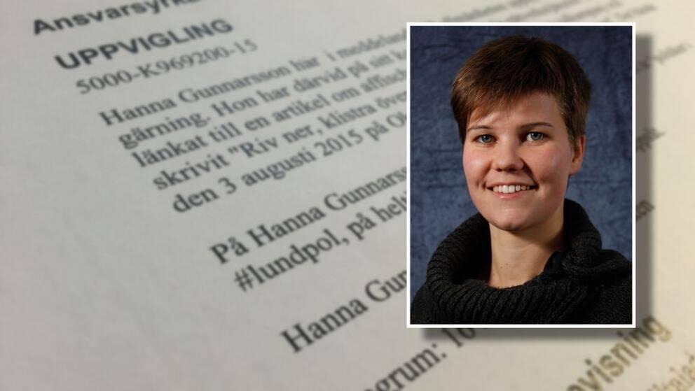 Hanna Gunnarsson (V) åtalas för uppvigling.