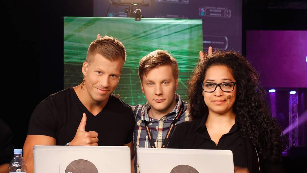 """Petter Sjöstrand, Fredrik """"Jaegarn"""" Andersson och Mayra """"Ipsa"""" Perez."""