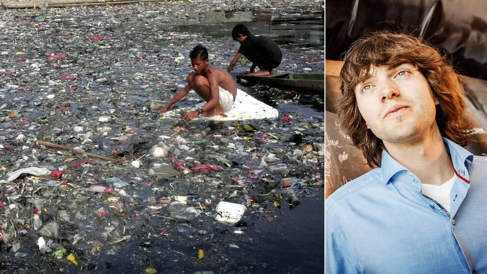 21-årige Boyan Slat hoppas att hans prototyp ska kunna samla in stora delar av det plastavfall som flyter runt i haven runtom i världen.