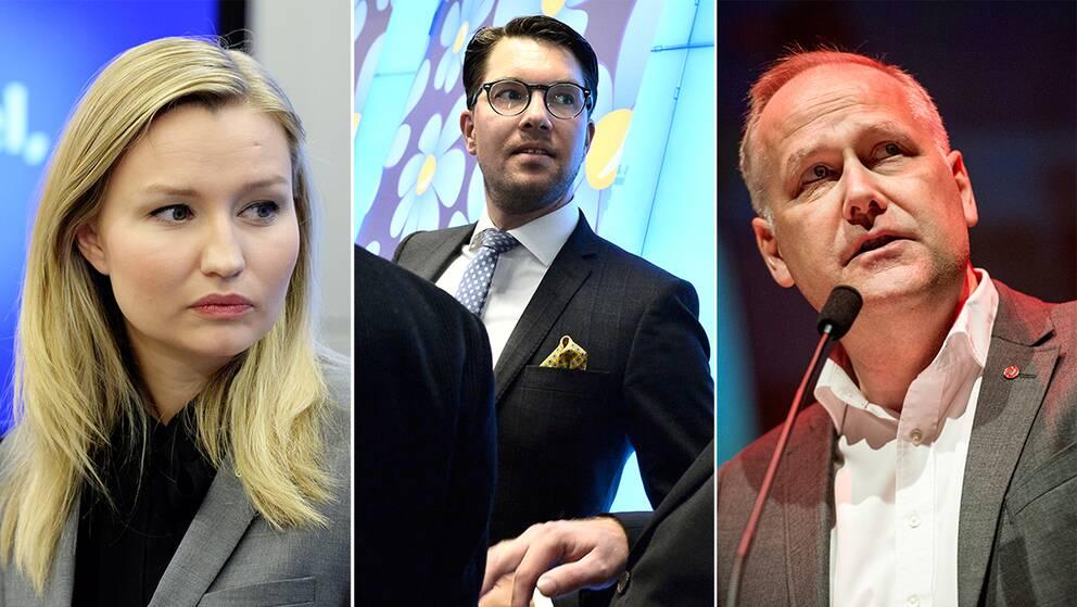 Ebba Busch Thor, Jimmie Åkesson, Jonas Sjöstedt.