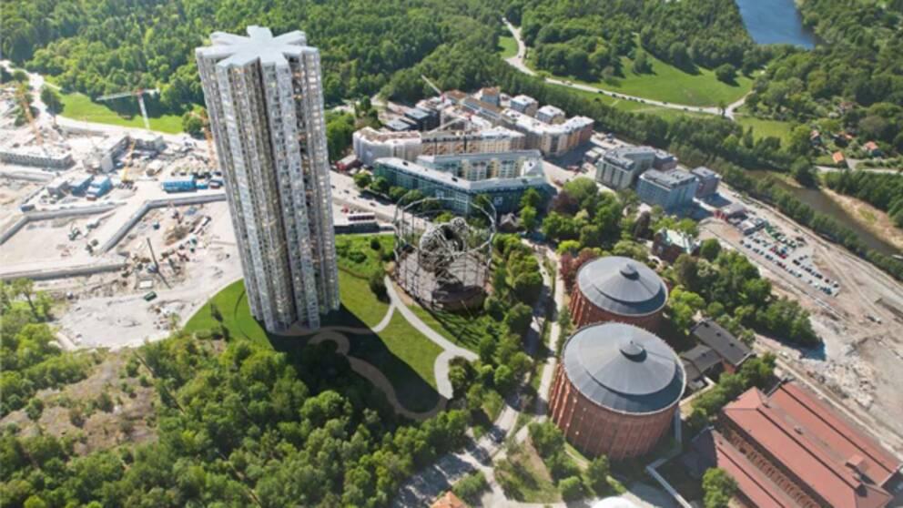 Byggnaden som ska ersätta gasklocka 4 i Norra Djurgårdsstaden.