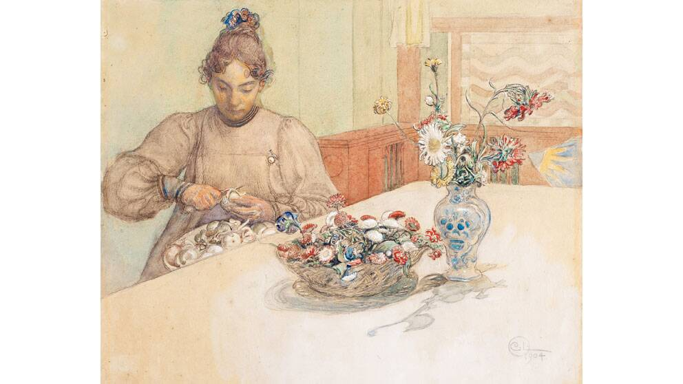 """Karin skalar äpplen"" av Carl Larsson"