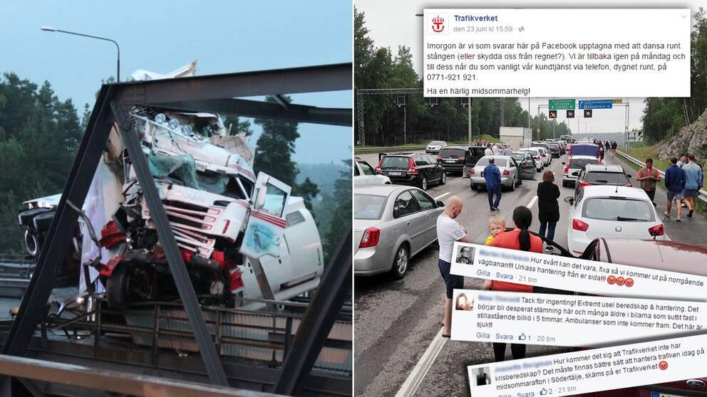 Efter trafikkaoset utanför Södertälje på midsommarafton möts Trafikverket av kritikstorm i sociala medier för att de inte varnat och hjälpt de som satt fast mer.