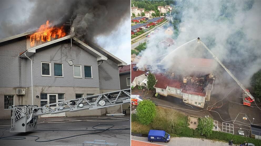 """""""Vi kan inte utesluta brott"""", säger polisen om den kraftiga branden."""