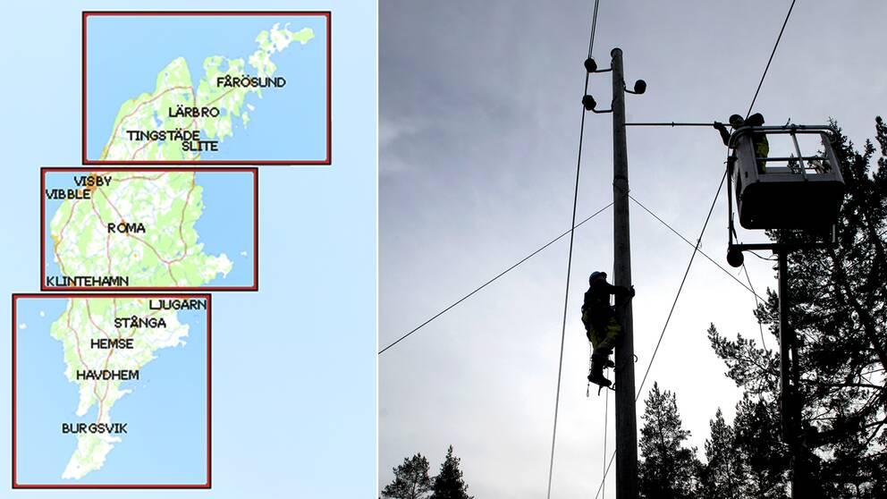 Hela Gotland är strömlöst visar en karta från Gotlands energis hemsida.