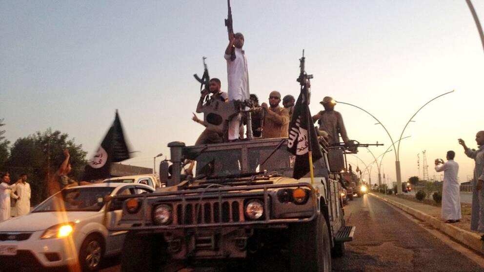 Islamiska staten (IS) chockade omvärlden i juni 2014 när terrorgruppen intog storstaden Mosul i norra Irak. På bilden paraderar IS-soldater i en erövrad pansarbil genom staden.