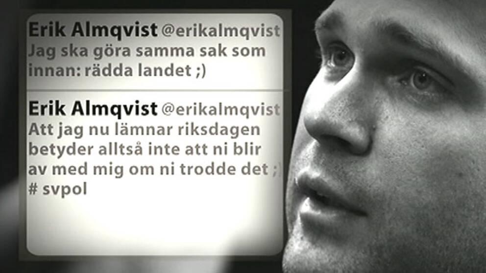Twittermeddelanden från Erik Almqvist