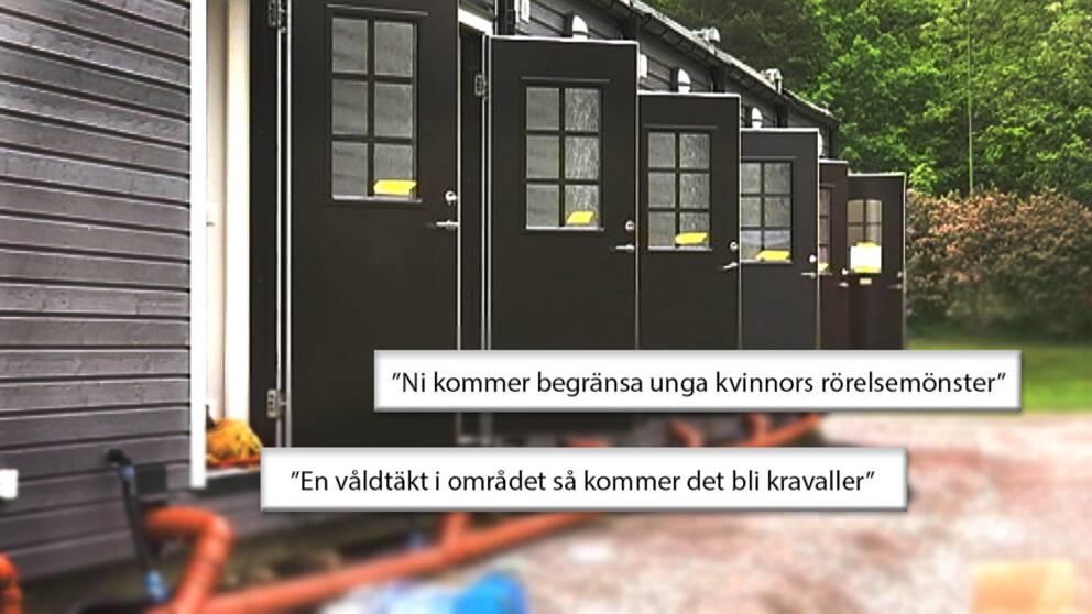 Mejlprotester mot modulhus för flyktingar.