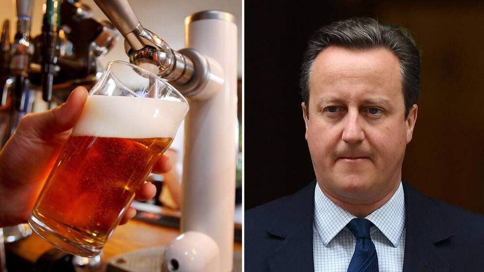 En bartender fyller upp en öl och en bild på David Cameron.