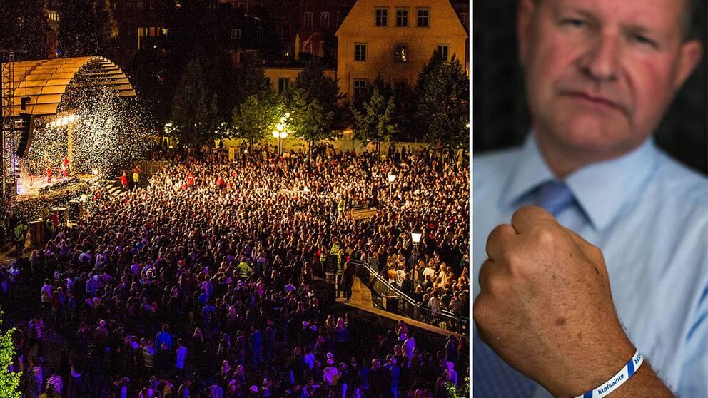 Festivalen We are Stockholm och rikspolischefen Dan Eliasson som bär ett armband med texten: POLIS AVSPÄRRAT tafsainte.