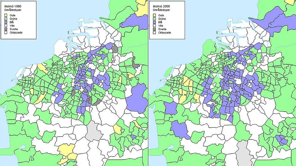 Kartgrafik ur rapporten om Malmö som visar hur andelen resursfattiga områden dominerade av utrikes födda (blå) har ökat sedan 1990. De gula områdena är resusrika och svenskdominerade, de gröna är blandade, de vita är resursfattiga och svenskdomnierade, svarta är resursrika som domineras av utlandsfödda. OBS att de vita områdena markerats med ljusgrått.