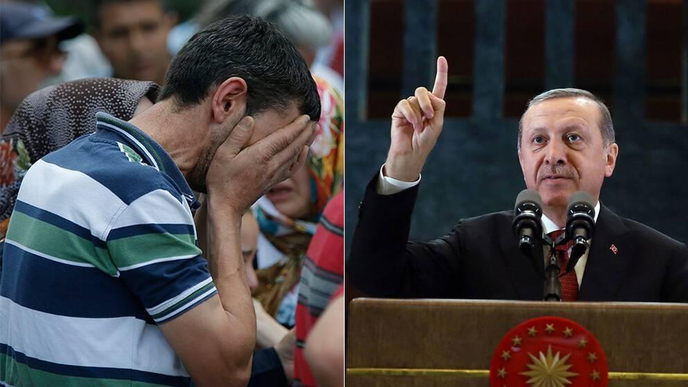 En man står och gråter efter bomdådet i Atatürkflygplatsen. Turkiets president, Recep Tayyip Erdogan.