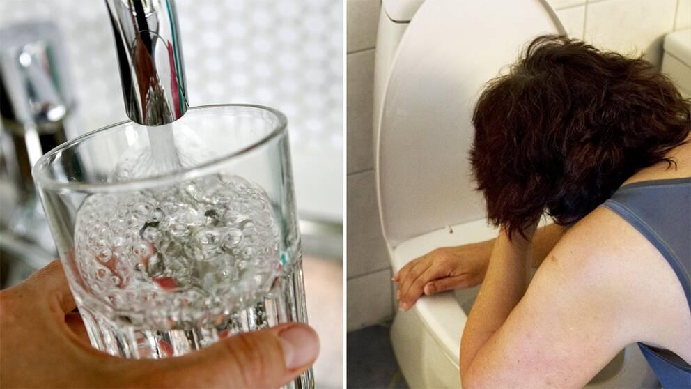 Glas med vatten och magsjuk person.