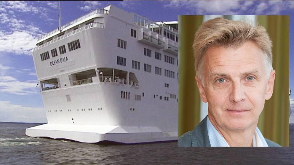 Montage med fartyget Ocean Gala och Anders Danielsson, generaldirektör Migrationsverket.