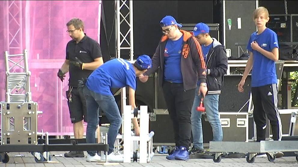 Förberedelser inför SM-veckan 2016 i Norrköping.
