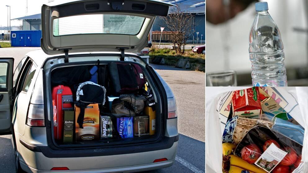 Matkassen och vattenflaskan kan förvandlas till livsfarliga projektiler i bilen om de packas fel.