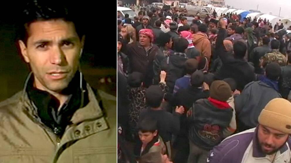 SVT:s Samir Abu Eid är på plats i ett flyktingläger i Syrien där al-Assads tal togs emot med ilska.