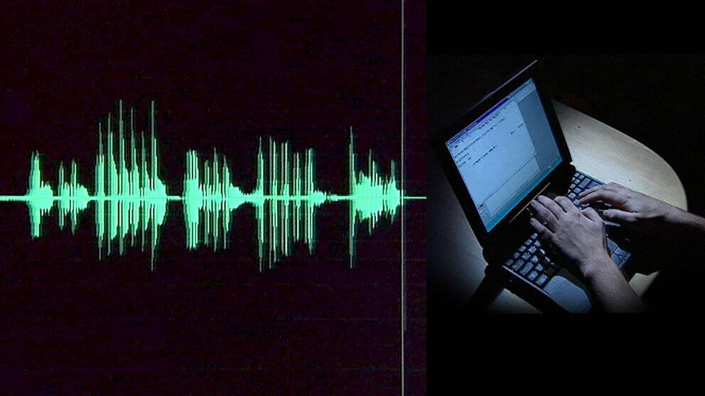 Ljudvågor och laptop.