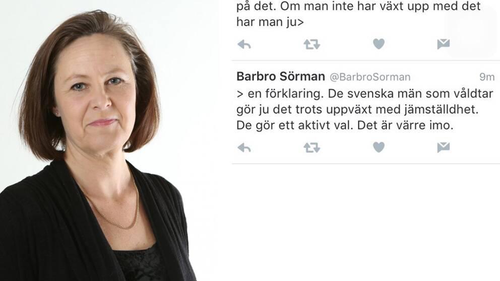 Barbro Sörman och hennes tweet.