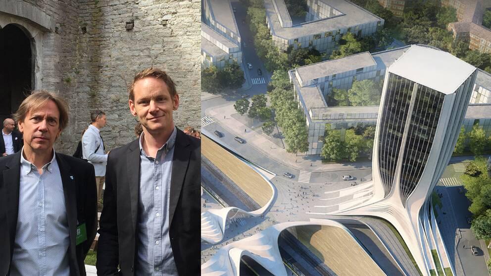 Craig Kiner från ZHA och Fredrik Drotte från Upplands Väsby kommun.