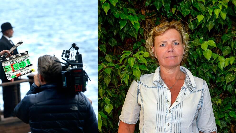 Scen ur filminspelning samt Anna Serner