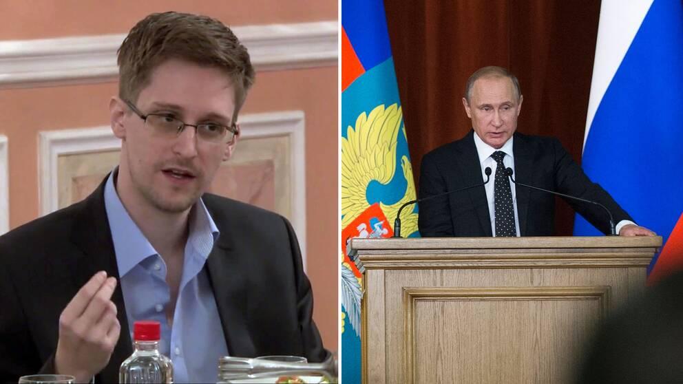 Edvard Snowden och Vladimir Putin.