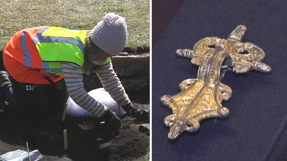 Gulspännen och pärlor som hittats under utgrävningarna visas för första gången upp.