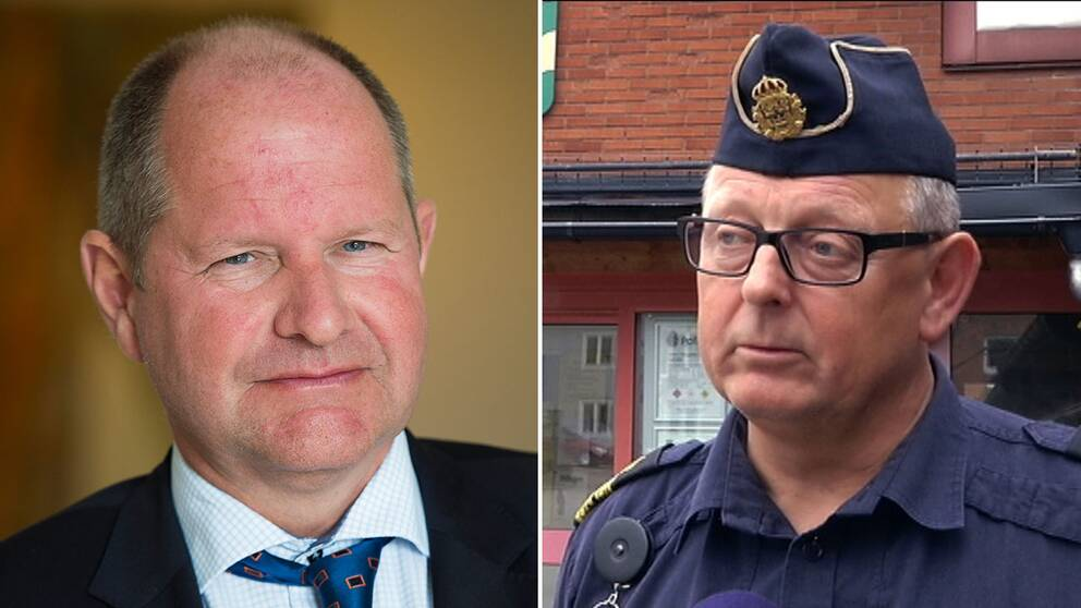 Rikspolischefen Dan Eliasson och närpolischefen Anders Karlsson.
