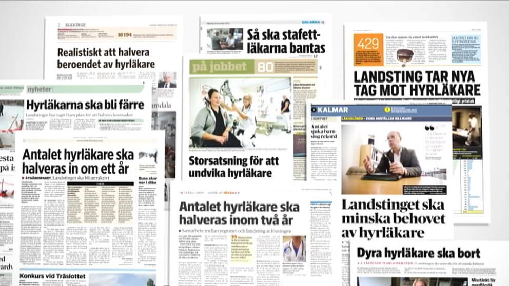 Klipp ur olika tidningar om att behovet av hyrläkare ska minska.