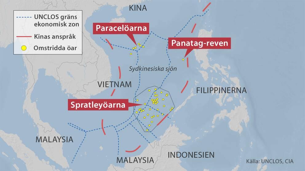 UNCLOS är gränserna på 200 sjömil för Kinas grannländer enligt FN:s havsrättsavtal. De röda linjerna betecknar de kinesiska kraven på havet.