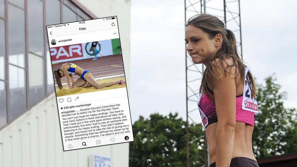 Erica Jarder blev inte uttagen till OS-truppen