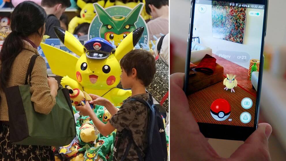 En butik med Pikachu-figurer, samt bild av någo nsom spelar Pokémon Go.