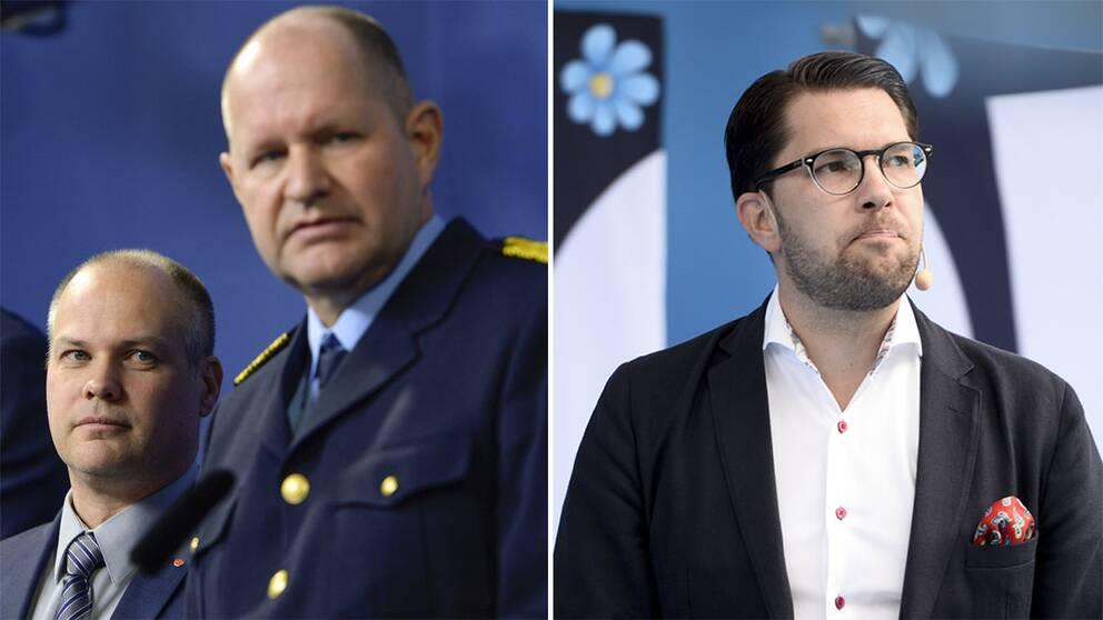 Morgan Johansson, Dan Eliasson och Jimmie Åkesson.