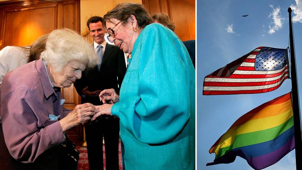 2008 gifte sig Del Martin och Phyllus Lyon och blev det första samkönade paret som gifte sig i Kalifornien sedan delstatens högsta domstol beslutade att tillåta samkönade äktenskap.