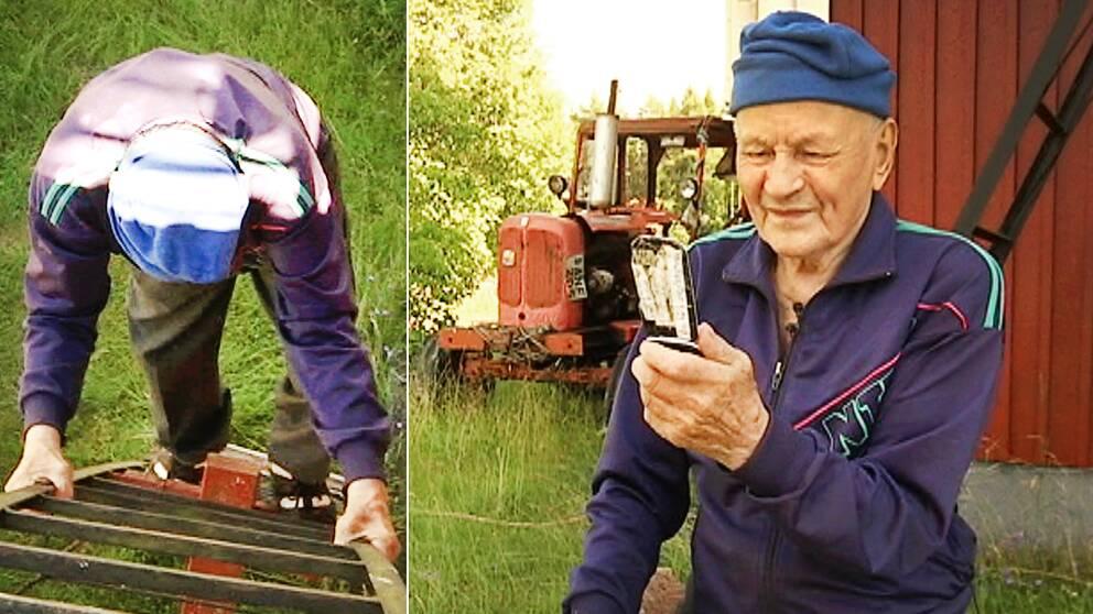 82-årige Markus Gustafsson konstaterar att han inte längre behöver klättra upp på sitt tak för att kunna skicka meddelande.