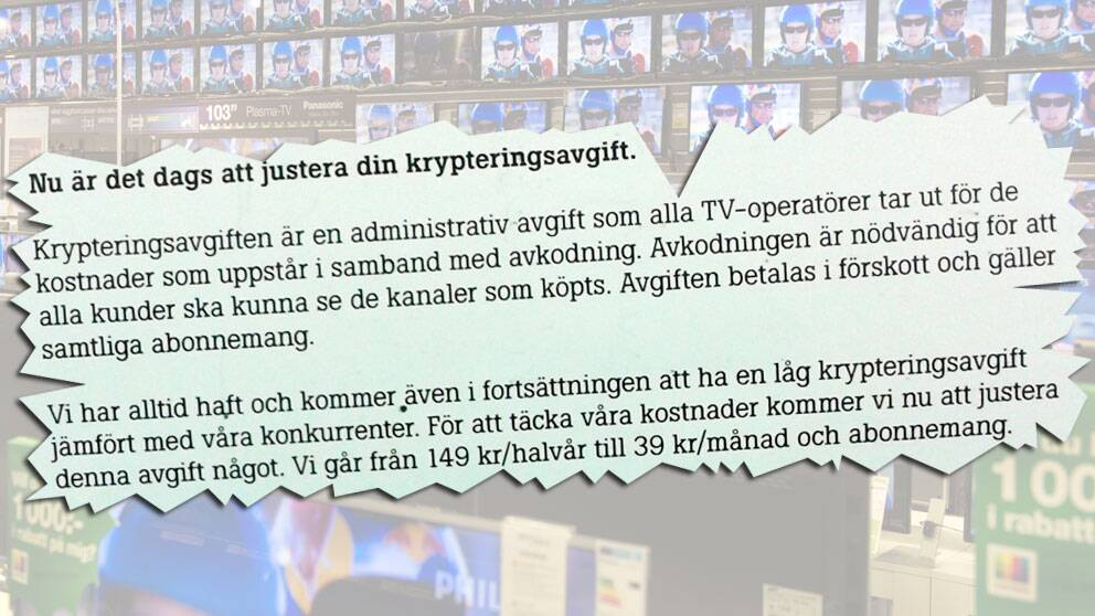 """Exempel på hur kabel-tv-leverantören Tele2 meddelade en av sina kunder om höjningen av """"krypteringsavgiften""""."""