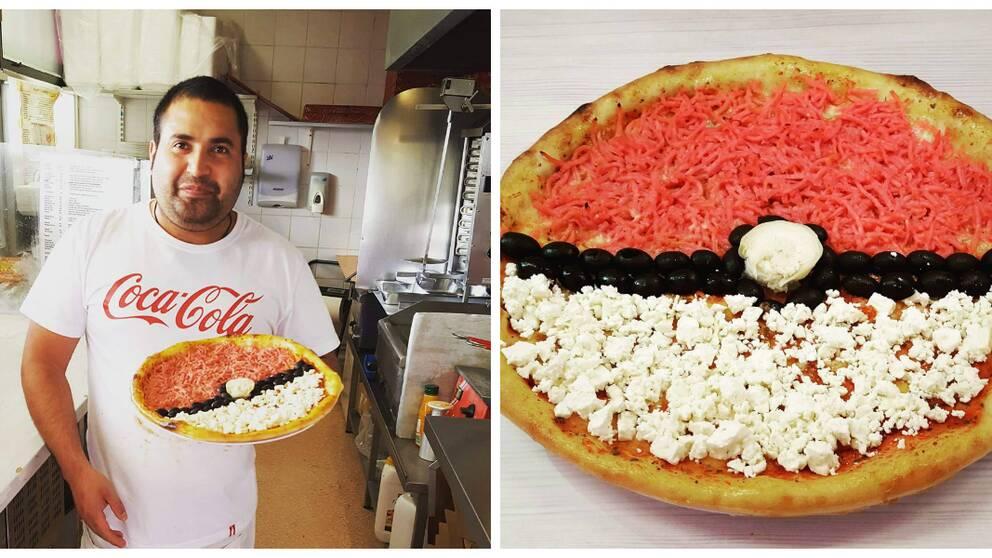 Collage: Sahid med en pokémonpizza och en närbild på en pokémonpizza.