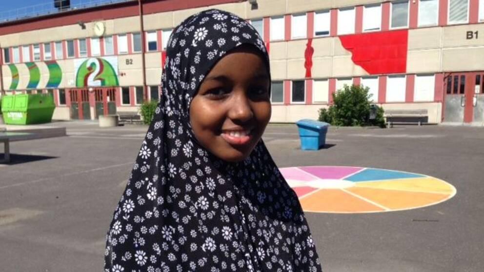 Leila Ducaale, 14 år, utanför Hjulstaskolan