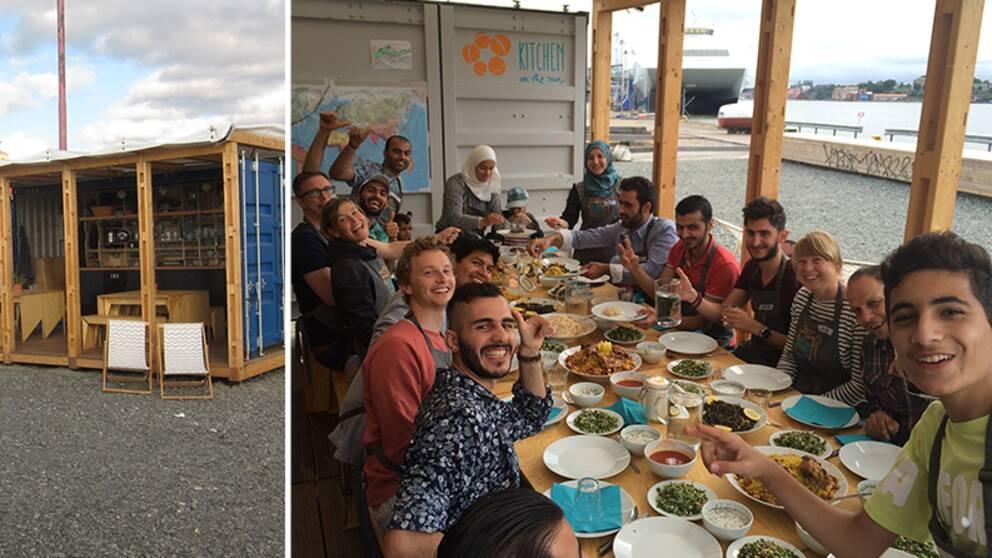 Exteriörbild på containern som är kök och en grupp människor som äter