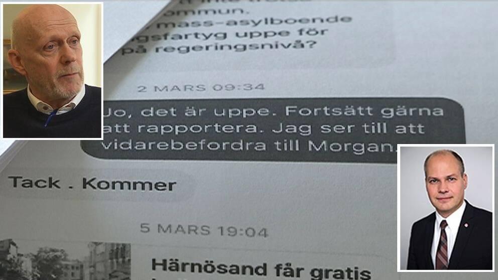 Kontakterna mellan kommunalrådet i Härnösand, Fred Nilsson, och departementet har skett via Facebook.
