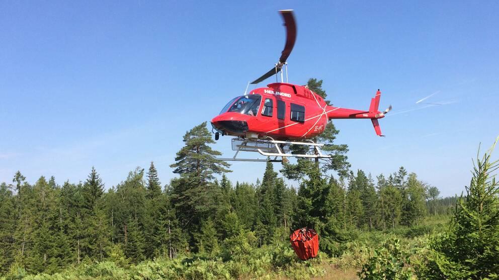 Helikopter, brand, Kilsbergen.