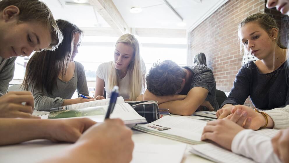 Elever sitter med skolböcker. Rekordmånga skolor har i år fått statliga bidrag till läxhjälp.