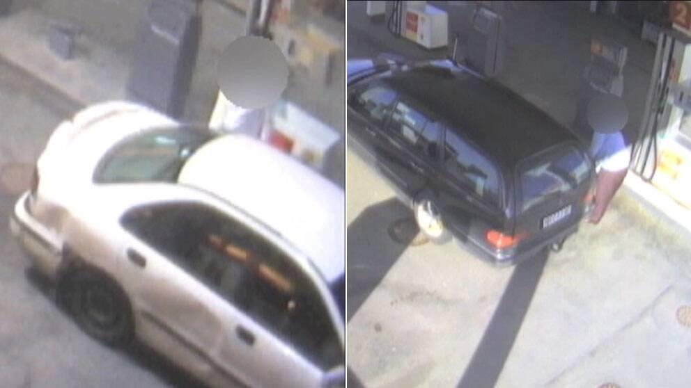 Övervakningsbilder som visar bensinsmitare.