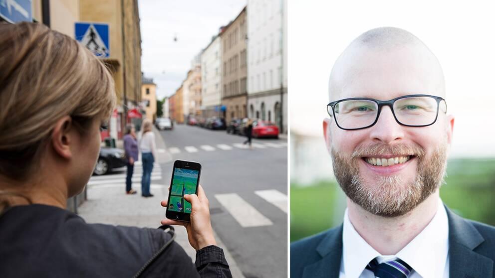 En kvinna som spelar Pokémon Go i stadsmiljö. Marcus Nohlberg, forskare vid Högskolan i Skövde.