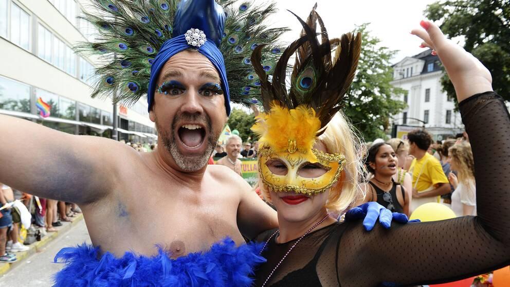 Deltagare i lördagens Prideparad som gick genom Stockholms gator från Kungsholmstorg med slutdestination Östermalms IP.
