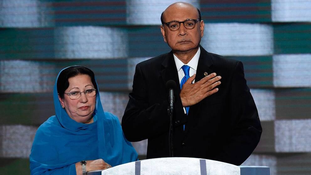 I sitt tal riktade sig Khan direkt till Trump och sa att Trump inte hade offrat någonting för USA, medan hans son offrat sitt eget liv